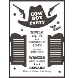 Cowboy party poster vector image