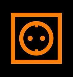 Electrical socket sign orange icon on black vector