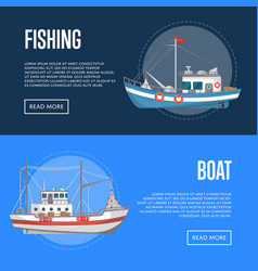 Fishing company flyers with commercial small boats vector