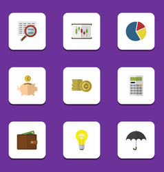 flat exchequer set of parasol calculate billfold vector image vector image