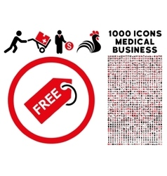 Free tag rounded icon with medical bonus vector