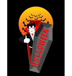 Halloween typography dracula in his coffin logo vector