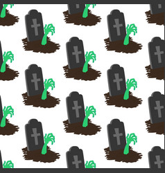 headstone and zombie hand pattern vector image