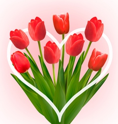 Holiday background with bouquet of red flowers vector image