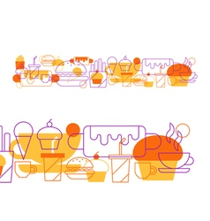 Hot-dog cupcake coffee cup tea and drinks snacks vector image vector image