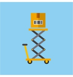 Lift cart with box vector