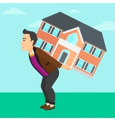 Man carrying house vector