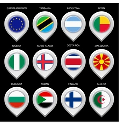 Map marker with flag-set second vector image vector image
