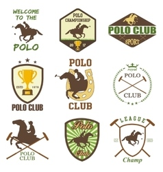 Set of vintage horse polo club labels vector