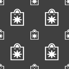shopping bag icon sign Seamless pattern on a gray vector image vector image