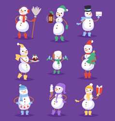 snowman cute cartoon winter christmas character vector image