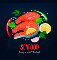 The fish steaks with vegetables vector