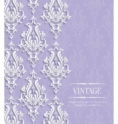 Violet vintage invitation card with floral vector