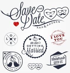 Wedding design elements badges and labels vector