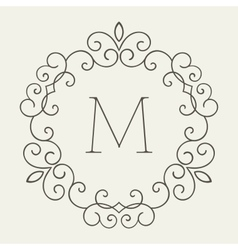 Elegant retro lineart floral frame vector