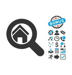 Search House Flat Icon with Bonus vector image