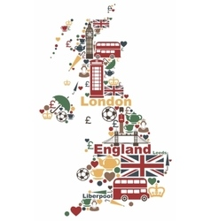 The symbols of the UK in the shape of a map vector image