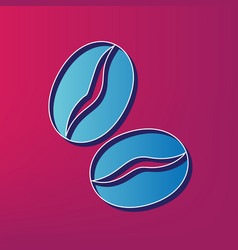 Coffee beans sign  blue 3d printed icon on vector