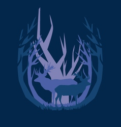 deep in the forest deer vector image