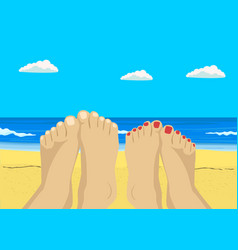 female and male feet on tropical beach vector image