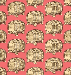 Sketch wine barrel in vintage style vector