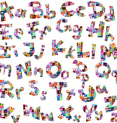 Letters of alphabet made of letters pattern vector image