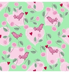 pattern with love hearts and birds vector image