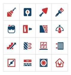 Set color icons of repair and building vector