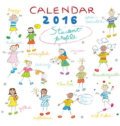 Calendar 2016 kids cover vector