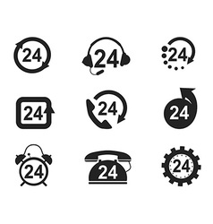 24 hours icons set vector