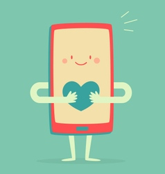 Happy smartphone holding a heart vector
