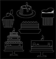 Card with six big cream layered cakes over a black vector