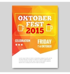 Octoberfest triangle flyer orange background party vector