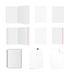 Set of blank white paper sheets and cards isolated vector