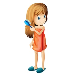 A teenager combing her hair vector image vector image