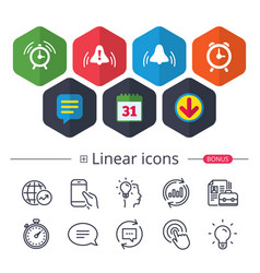 Alarm clock icons wake up bell signs symbols vector