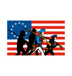 American minuteman militia betsy ross flag vector