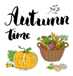 Autumn season set Hand drawn doodles and vector image vector image