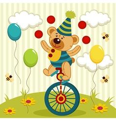 Bear clown juggles and rides a unicycle vector