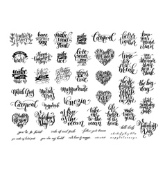 big set of black and white handwritten lettering vector image vector image