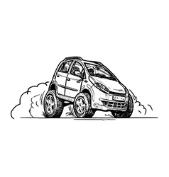 car in comics style vector image