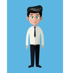 Cartoon business man employee office work vector