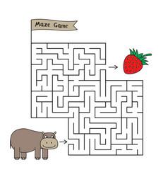 Cartoon hippo maze game vector