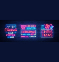 christmas sales collection neon signs signs vector image vector image