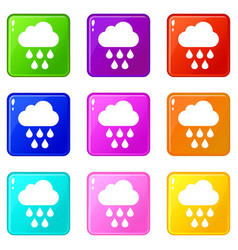 Cloud with rain drops icons 9 set vector