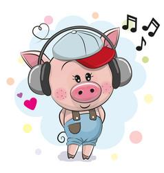 Cute cartoon pig with headphones vector
