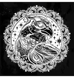 Detailed ornate mandala bird of prey head vector