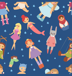 Different dolls like people fashion clothes vector