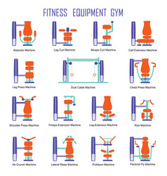 Fitness equipment color vector
