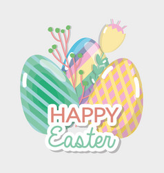Happy eggs easter celebration holiday vector